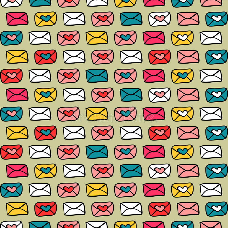 Download Romantic Seamless Pattern With Colorful Envelopes Stock Vector - Image: 28538200