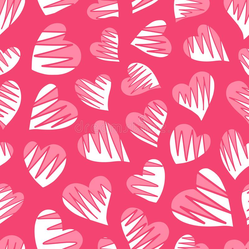 Romantic Seamless Pattern With Cute Images Of Hearts On A ...