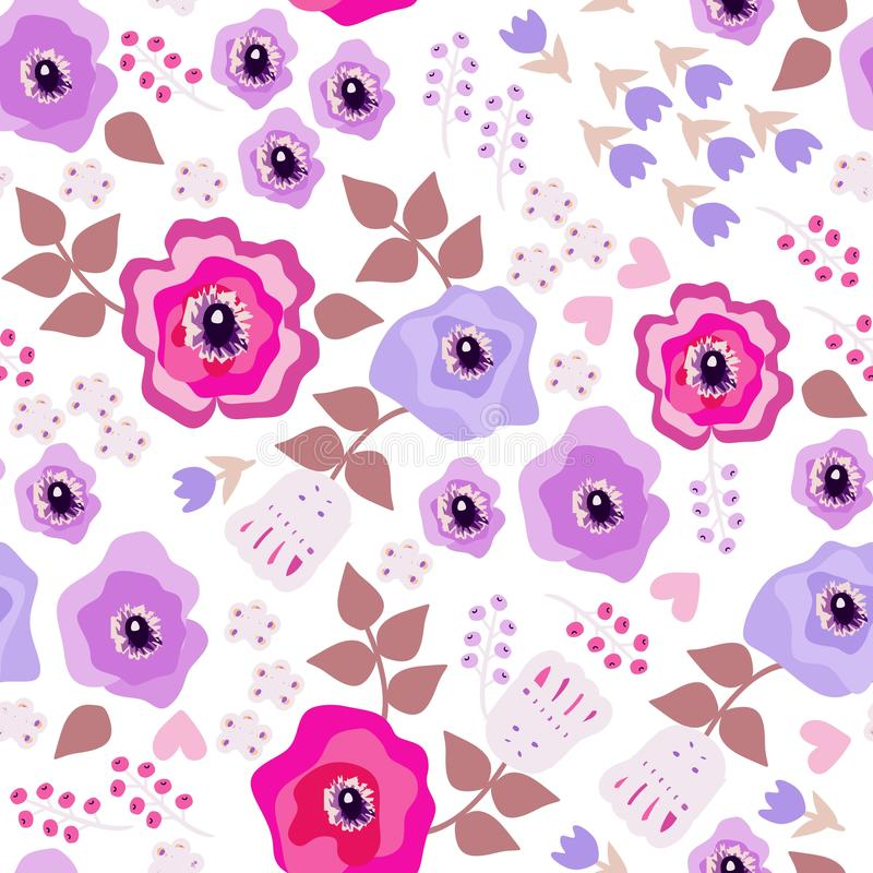Romantic seamless pattern with flowers in folk style. Decorative floral ornament on white background royalty free illustration