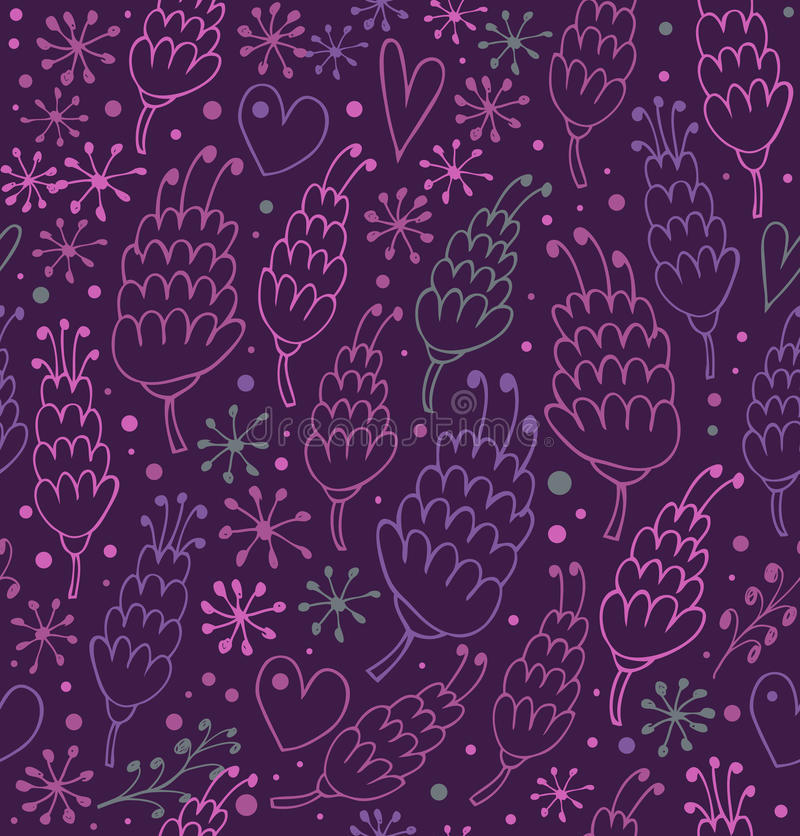 Download Romantic Seamless Pattern With Flowers And Hearts. Stock Vector - Illustration: 31647635