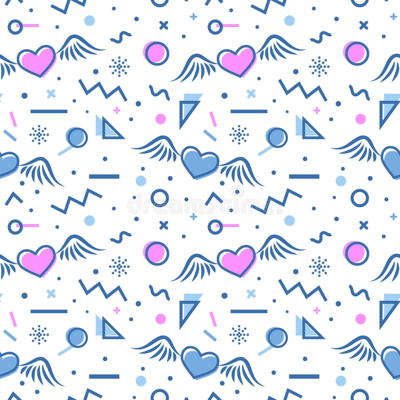 Hearts seamless pattern in memphis style. royalty free illustration
