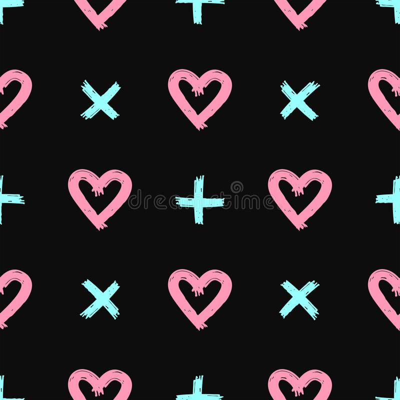 Romantic seamless pattern with hearts and crosses drawn by hand. Grunge, sketch, graffiti. Simple vector illustration vector illustration