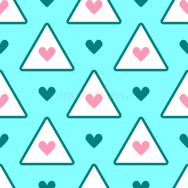 Romantic seamless pattern with hearts and triangles. Cute girly print. Simple vector illustration royalty free illustration