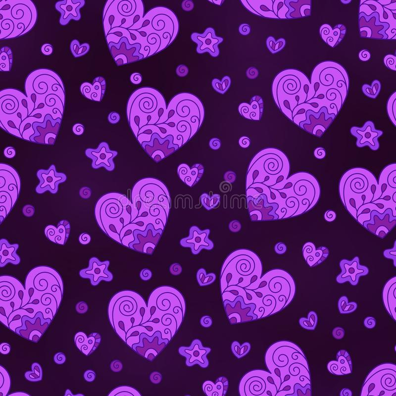 Romantic Seamless Pattern of Lilac Hearts on Dark Backdrop stock illustration