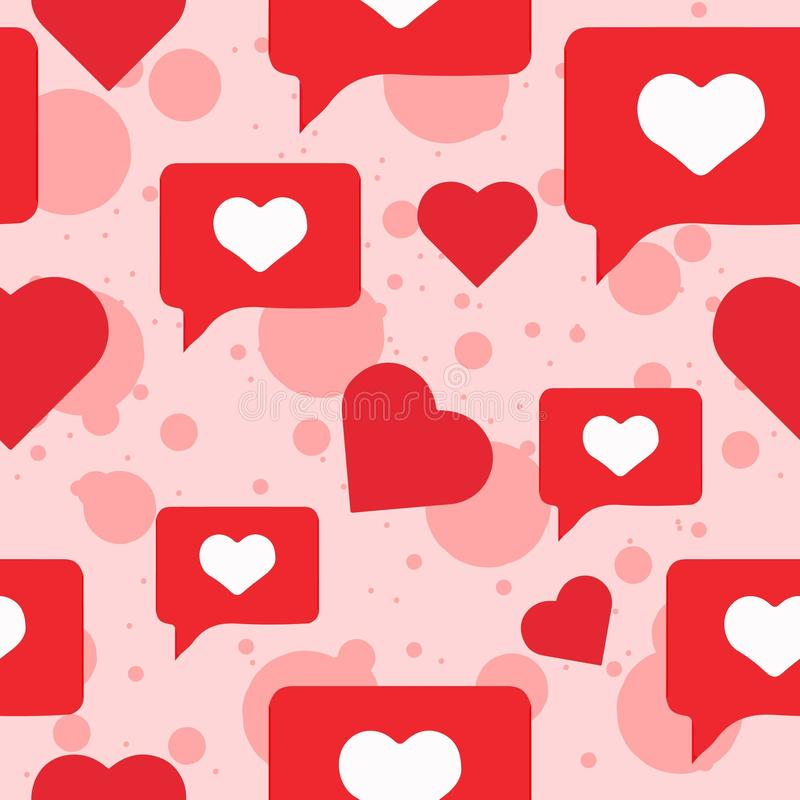 Romantic seamless pattern with red hearts and pink background for Valentine`s Day. royalty free illustration