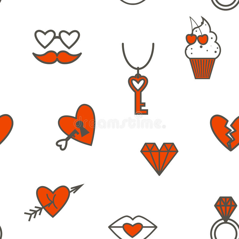 Romantic Seamless with Symbols of Valentine's Day royalty free illustration