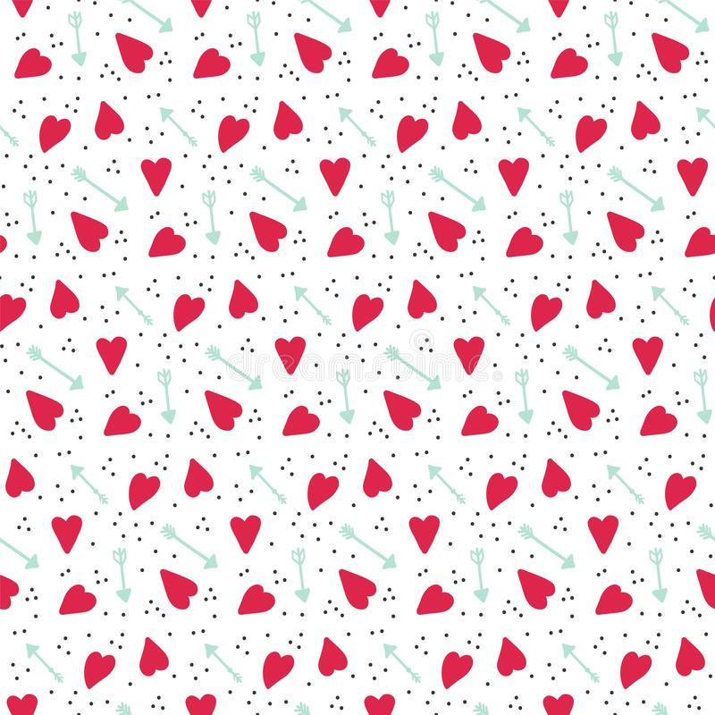 Romantic seamless vector pattern with hearts and arrows. stock illustration