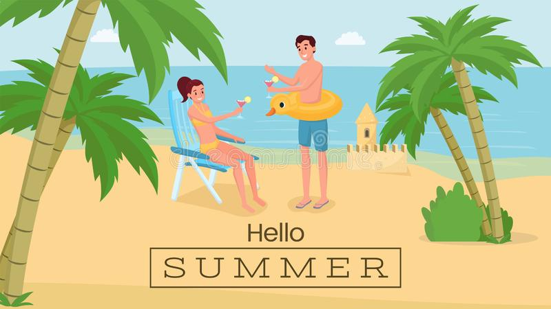 Romantic seaside vacation vector banner. Happy couple on honeymoon trip drinking cocktails on beach. Hello summer phrase royalty free illustration
