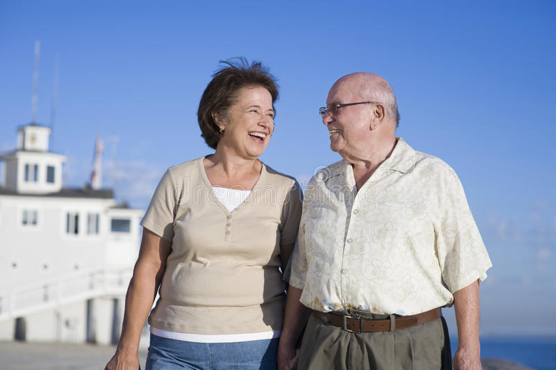Romantic Senior Couple Looking At Each Other stock images