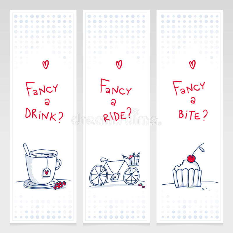 Romantic set of three doodle vertical banners vector illustration