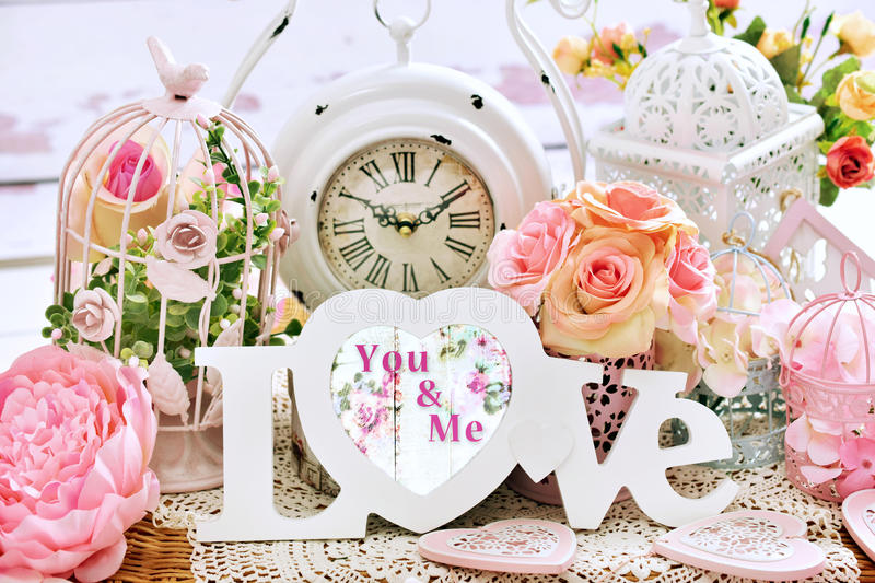 Romantic shabby chic love decoration stock image