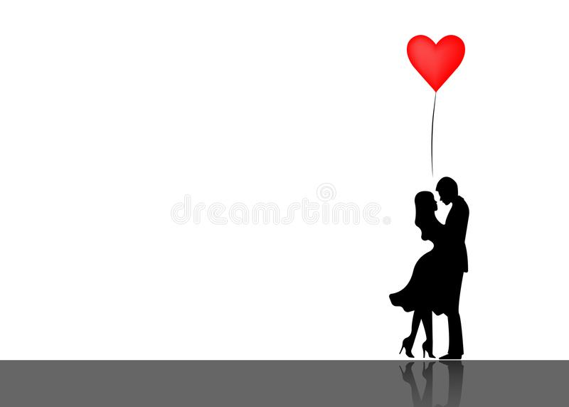 Romantic silhouette of loving couple. Valentines Day 14 February. Happy Lovers. Vector illustration isolated stock illustration