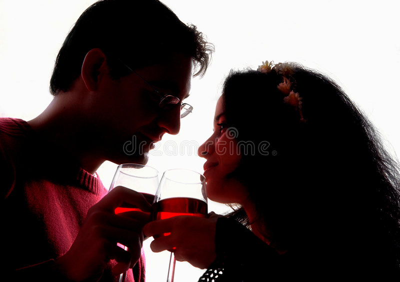 Romantic silhouettes stock image