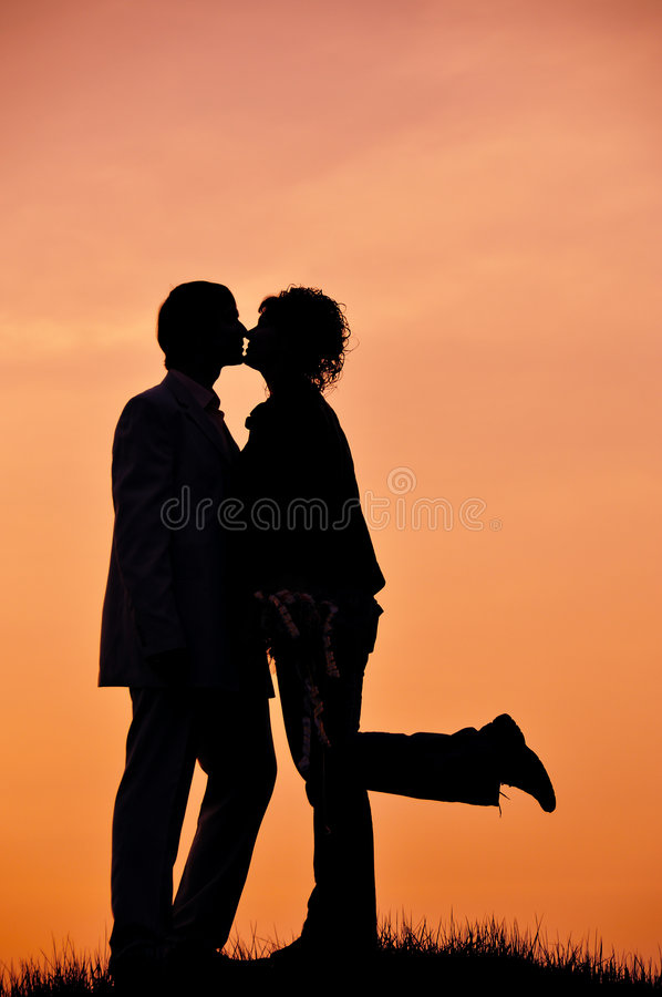 Romantic silhouettes royalty free stock photography