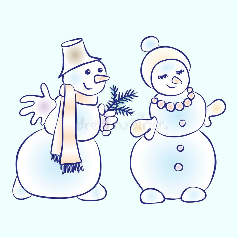 Romantic snowmen couple. Snowman courting his girl vector illustration