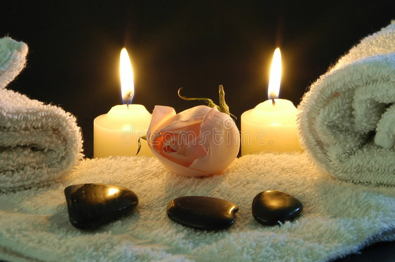 Romantic spa night stock image