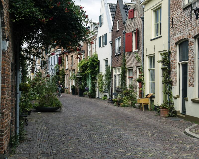 Romantic street in Deventer, historic city center that attracts many visitors every year. stock image