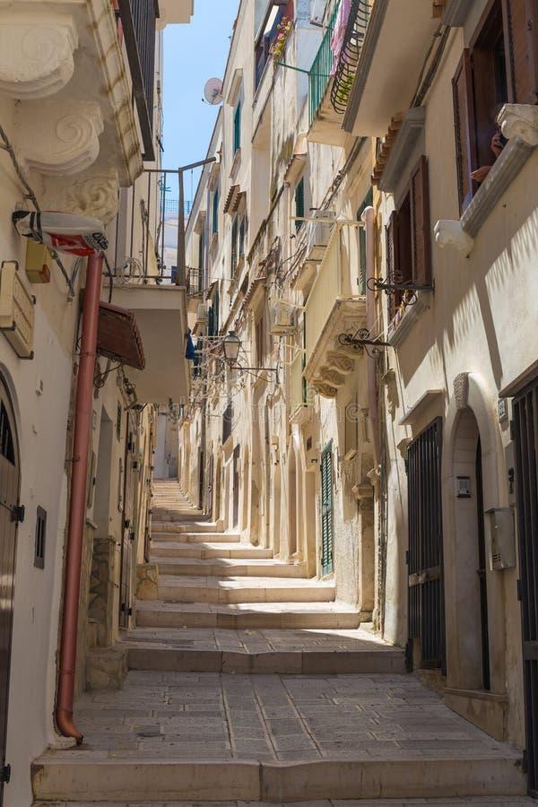 Romantic streets of Vieste old town, Gargano Peninsula, Apulia, South of Italy royalty free stock photos