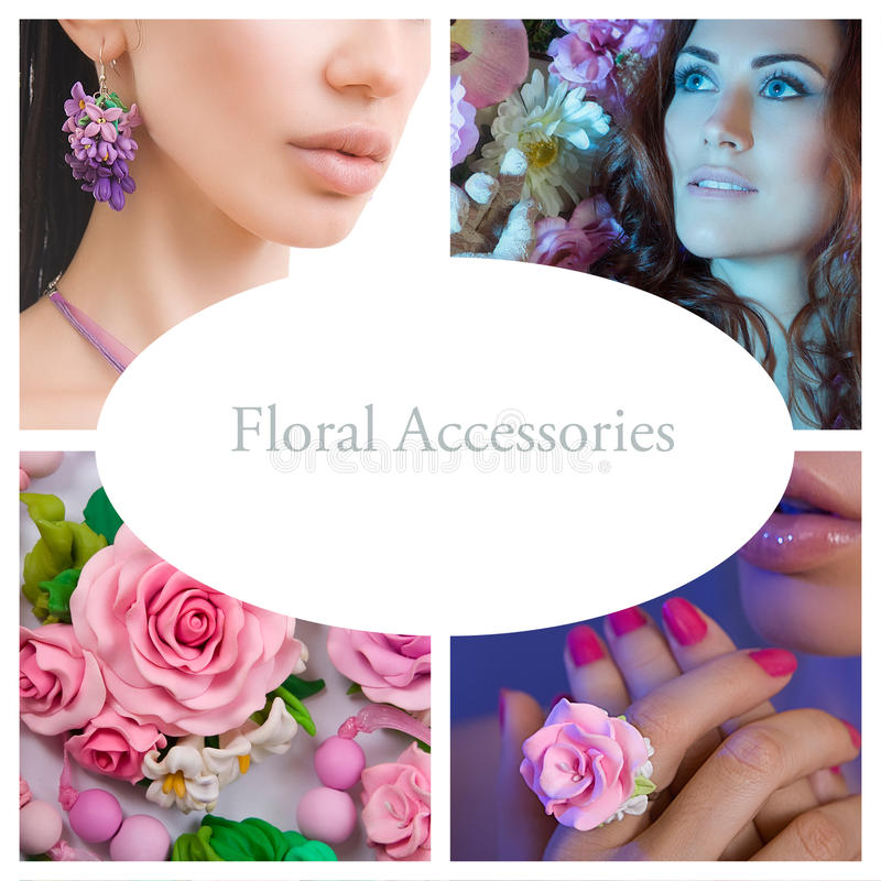 Romantic Style Collage: Fashion shot of a Floral Woman Accessories (Jewelery made of Polymer Clay) stock image