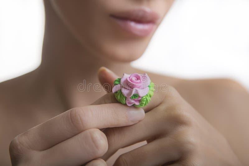 Romantic style: Fashion studio shot of beautiful woman with a fl stock photo