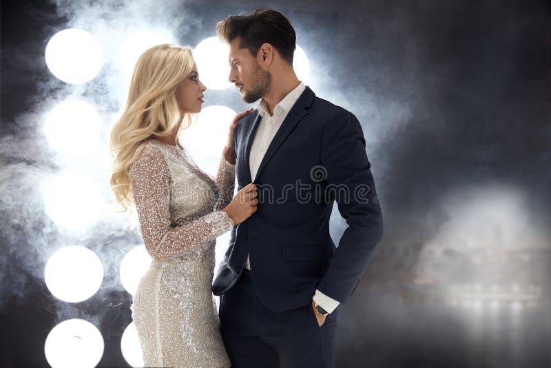 Romantic style portrait of an elegant couple stock image
