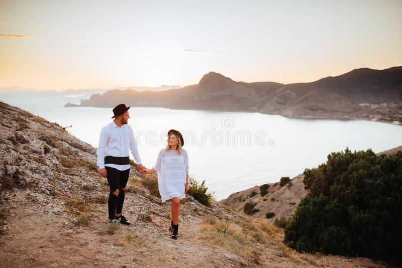 Love story on sunset stock images