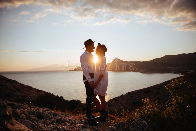 Love story on sunset royalty free stock images