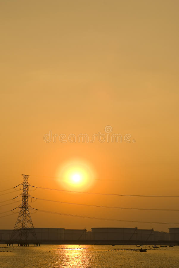 Download Romantic Sunset Over Petrochemical Plant Stock Image - Image: 26809023
