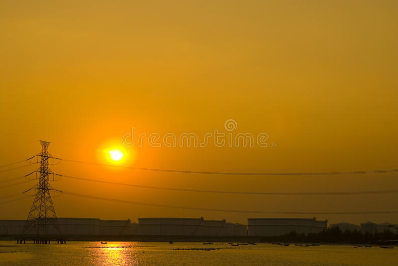 Download Romantic Sunset Over Petrochemical Plant Stock Photo - Image: 26826574