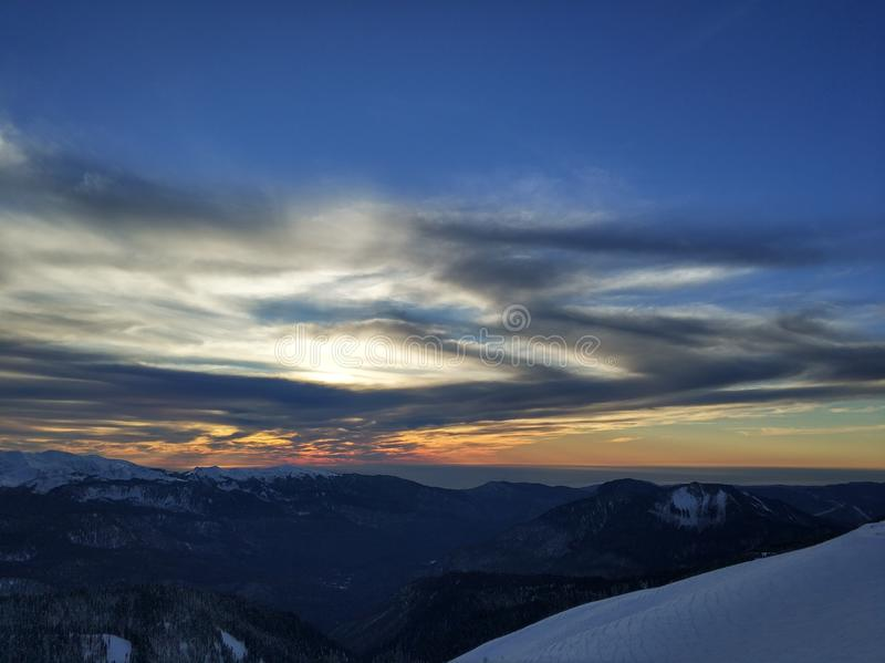 Sunset on the mountains royalty free stock photography