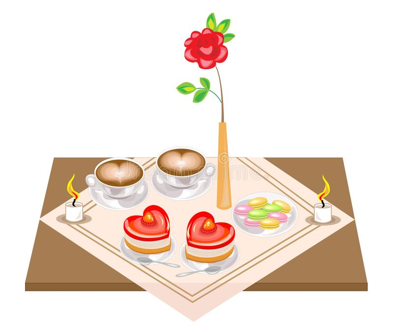Romantic table for lovers. A delicious heart-shaped cake and two cups of coffee, a heart-shaped foam, candles. Valentine s Day. vector illustration