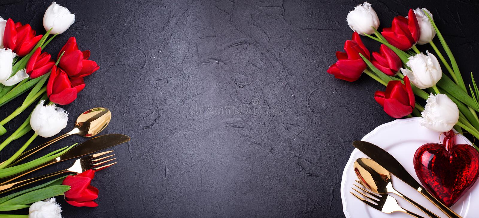 Romantic table setting banner royalty free stock photo