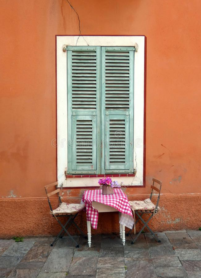 Romantic table for two in France stock photos
