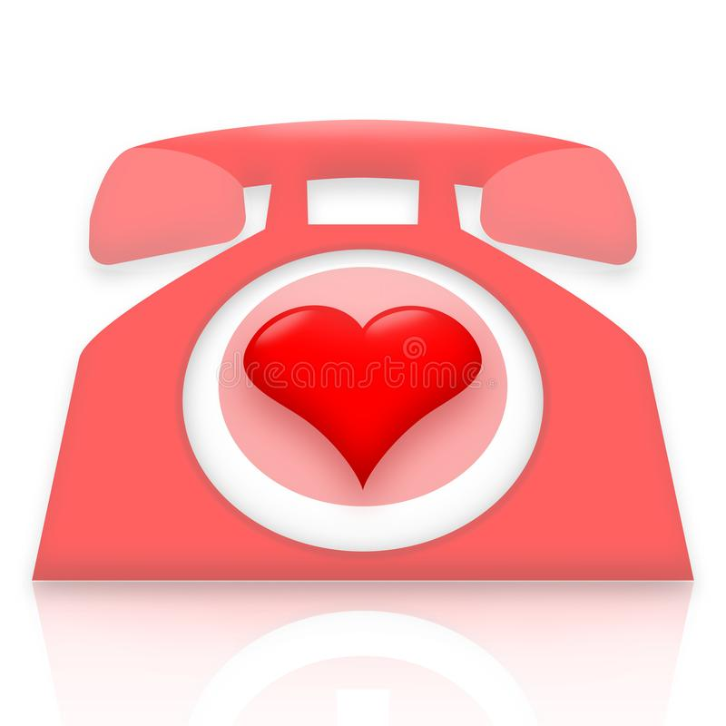 Romantic talking telephone. Romantic talking, pink telephone with love heart instead of a ring dial royalty free illustration