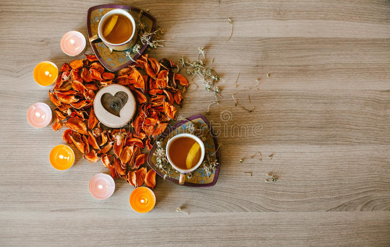 Romantic tea for two on Valentine`s day royalty free stock photo