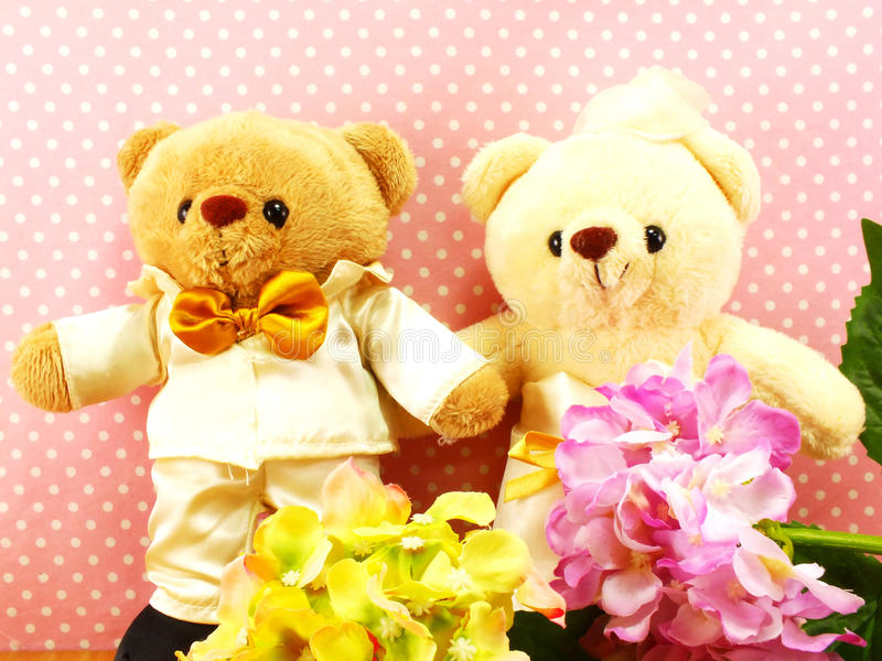romantic teddy bear on wedding scene love concept royalty free stock photos