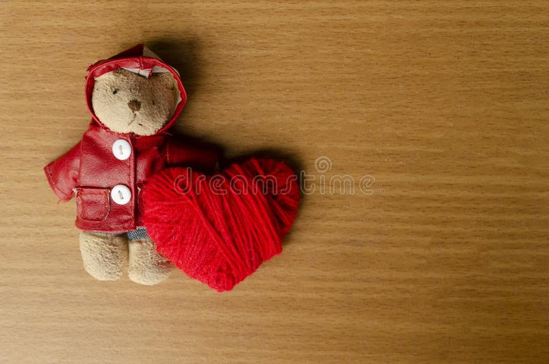 Romantic with teddy and red heart for valentine. Day concept stock photos