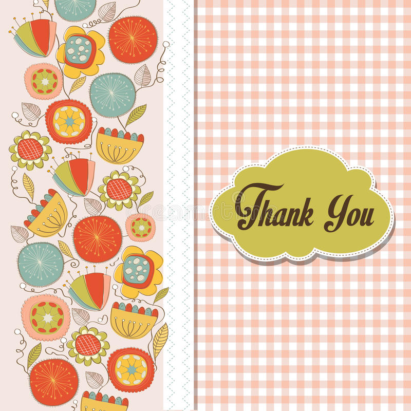 Download Romantic Thank You Card With Flowers Stock Vector - Illustration: 34131577