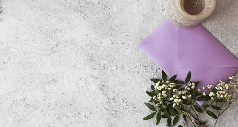 Romantic view of letter and flowers royalty free stock images