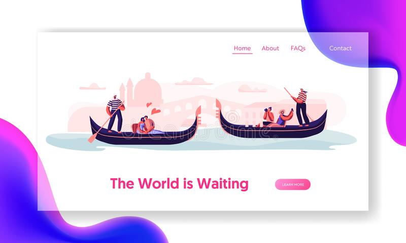Romantic Tour in Italy. Love in Venice. Happy Loving Couples Floating on Gondolas with Gondoliers Hugging and Making Photo. Website Landing Page, Web Page royalty free illustration