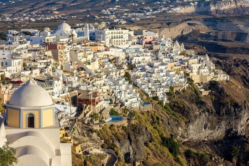 Romantic town view of Fira, Santorini, Greece stock images