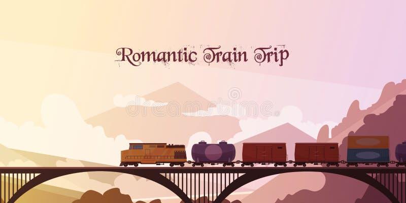Romantic Train Trip Background. Romantic train trip flat vector illustration with railway train passing over bridge at mountain landscape background vector illustration