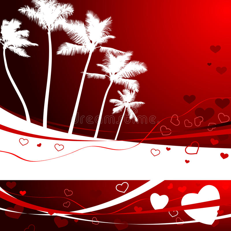 Romantic tropical background for valentine's day vector illustration