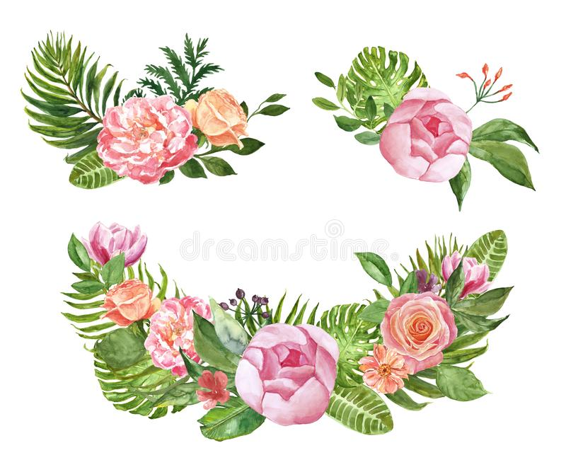 Watercolor floral tropical frames and bouquets, isolated on white background. Palm leaves, monstera foliage, pink roses and peony stock illustration