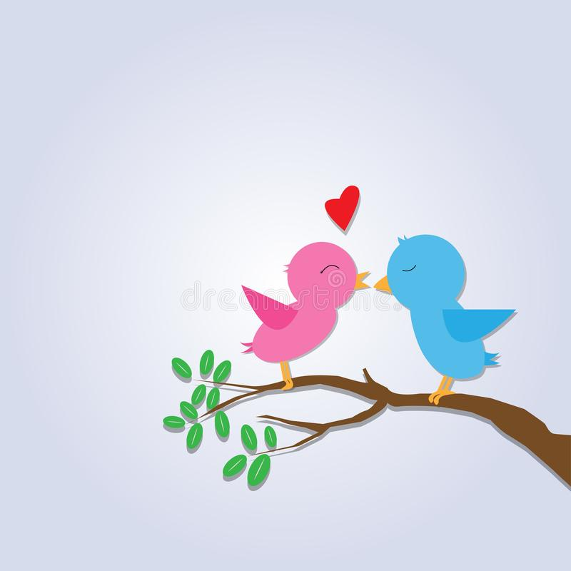 Romantic two birds on tree branch and leafs with hearts. Vector illustration eps10 royalty free illustration