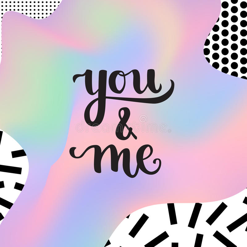 Romantic Typographic poster. Romantic Valentine day card. Typographic poster with hand drawn quote. Lettering on abstract memphis background vector illustration
