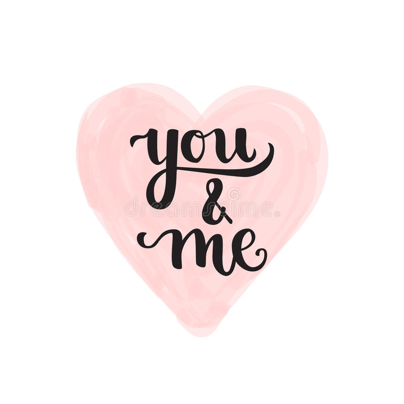 Romantic Typographic poster. Romantic Valentine day card. Typographic poster with hand drawn quote. Lettering on heart transparent abstract background stock illustration