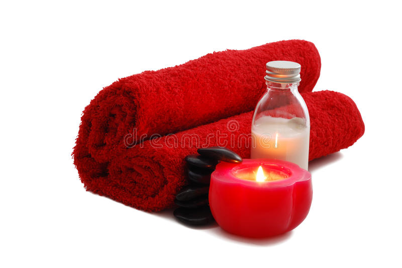 Romantic Valentine Day SPA set with candle stock photo