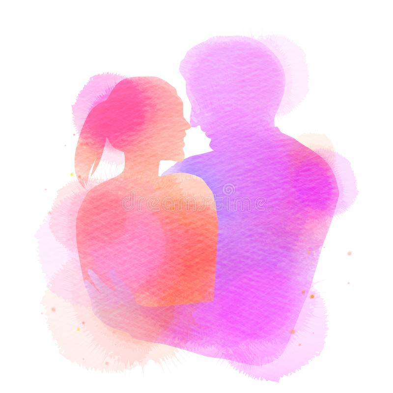 Romantic Valentine lovers silhouette on watercolor background. Love at first sign concept.  Engagement couple. Happy valentine`s. Day royalty free illustration