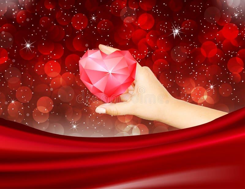 Romantic Valentine Red Ruby Heart Diamond Bokeh lights Elegant Love Background vector illustration